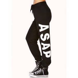 "Pants - BLACK & WHITE ""ASAP"" LOGO JOGGERS"